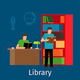 Reading in library illustration