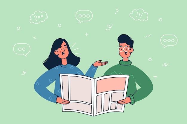 Reading news illustration