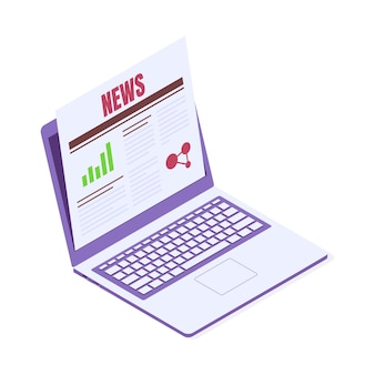 Reading news on laptop isometric vector illustration