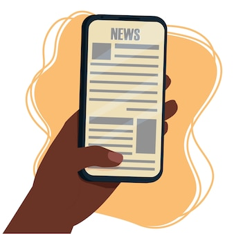 Reading news on screen of smartphone hand afroamerican ethnic holding mobile phone