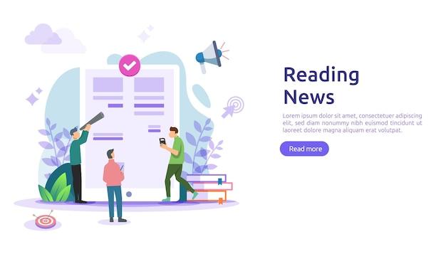 Чтение газет и новостных статей в интернете о концепции смартфона