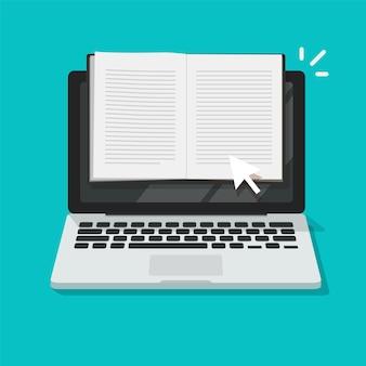 開いているノートブックまたはメモ帳をラップトップコンピューターのフラット漫画イラストでオンラインで読む