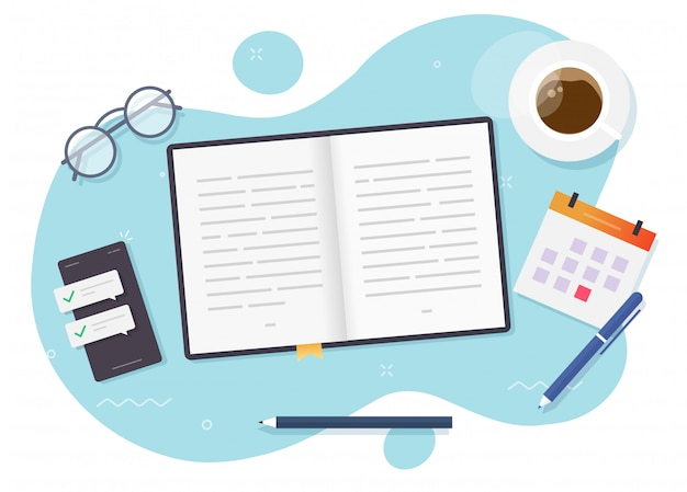 Reading paper book on desktop learning table top view or education desk and study open textbook above workplace flat cartoon