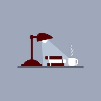 読書テーブル、テーブルランプ、本、コーヒー、テーブルコンセプトのお茶
