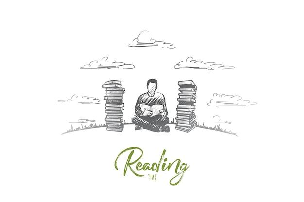 Концепция времени чтения. нарисованный рукой сконцентрированный человек, читающий, увлекающийся литературой. лица мужского пола сидят и читают изолированные иллюстрации книги.