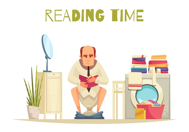Reading time in toilet  with washing machine flat