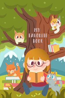 Reading with a cat illustration