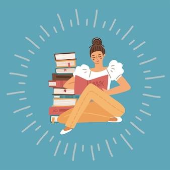 青い背景で隔離のハードカバーと本のスタックと床に座っている女性を読んで