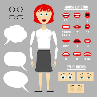 Ready for animation vector parts of cartoon girl character