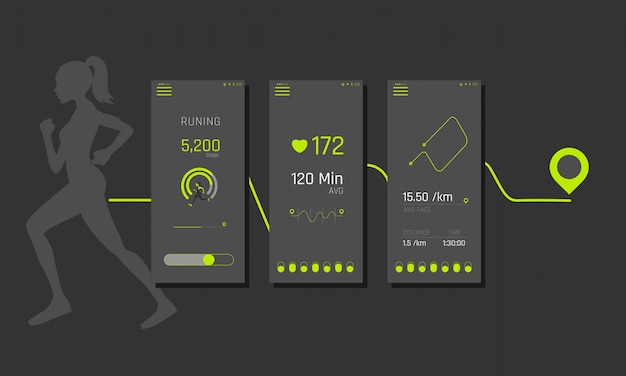 Ready fitness application ui,ux, of info graphics and graphs. fitness app screens in flat style with charts and info graphic. ui dashboard.