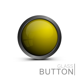 Ready made blank glass button template of yellow color isolated