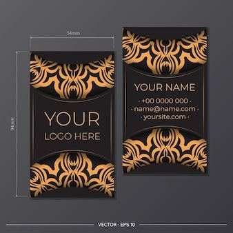 Ready to print business card design with greek patterns. black color business card design with vintage ornament.