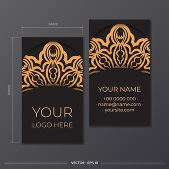 그리스 패턴으로 명함 디자인을 인쇄할 준비가 되었습니다. 빈티지 장신구와 함께 검은색 명함 세트입니다.