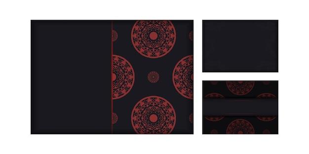그리스 패턴의 black 색상으로 바로 인쇄할 수 있는 엽서 디자인. 텍스트와 럭셔리 장식품을 위한 공간이 있는 초대장 템플릿.