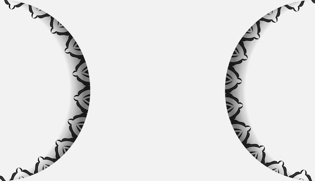 すぐに印刷できるポストカードデザイン曼荼羅の飾りが付いた白い色。あなたのテキストとビンテージパターンのためのスペースを持つ招待状テンプレート。