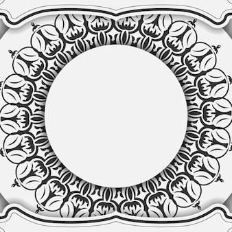 바로 인쇄할 수 있는 엽서 디자인 만다라가 있는 흰색 색상. 텍스트 및 빈티지 장식품을 위한 장소가 있는 초대 카드 템플릿.