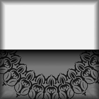 바로 인쇄할 수 있는 엽서 디자인 만다라가 있는 흰색 색상. 텍스트 및 빈티지 장식에 대 한 장소를 가진 벡터 초대 카드 템플릿.