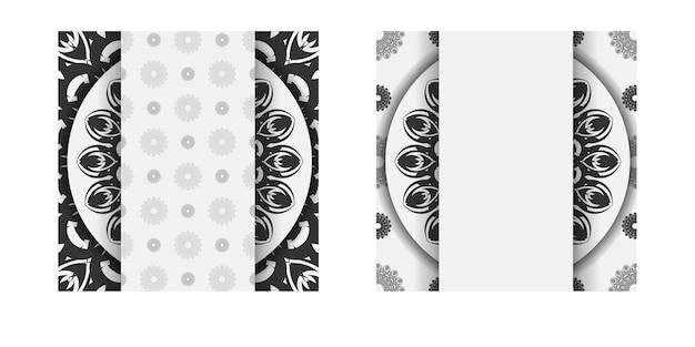 바로 인쇄할 수 있는 엽서 디자인 만다라가 있는 흰색 색상. 텍스트와 검은색 장신구에 대 한 장소를 가진 초대 카드의 벡터 템플릿. 프리미엄 벡터