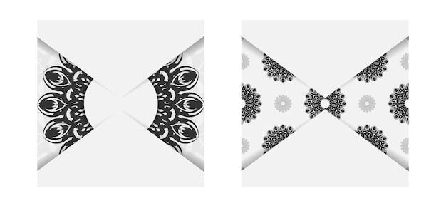 바로 인쇄할 수 있는 엽서 디자인 만다라가 있는 흰색 색상. 텍스트와 검은색 장신구에 대 한 장소를 가진 초대 카드의 벡터 템플릿.