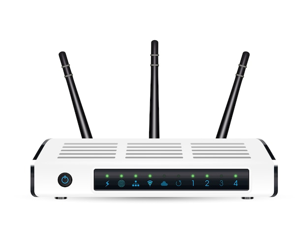 A real 3d adsl wifi modem router on a white background