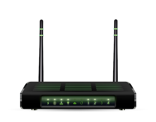 Real 3d adsl wifi router on a white background
