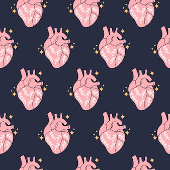 Real anatomical heart with flowers seamless pattern in boho style.