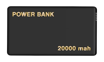 Real black power bank on isolated background