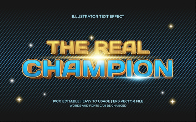 The real champion text effect with a blue and gold 3d display Premium Vector