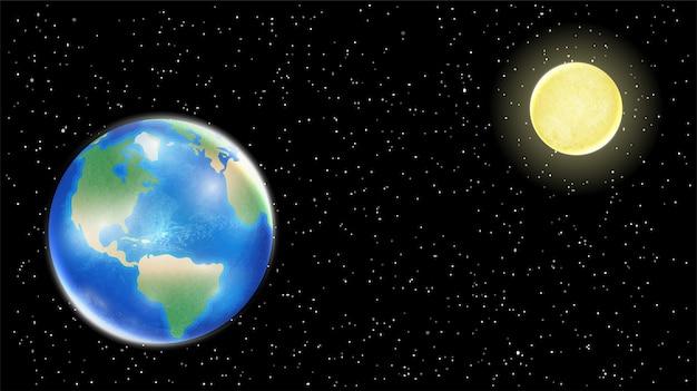 우주 스타 배경에 실제 지구와 달