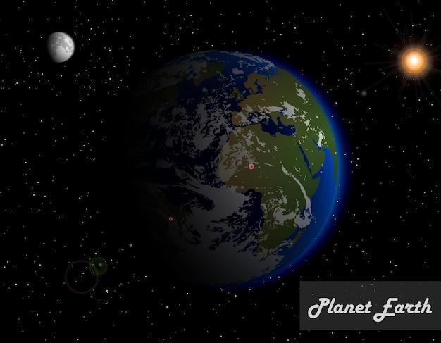 Реальная планета земля в желтом солнце