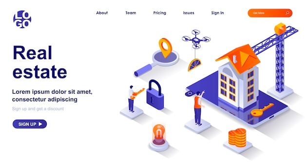 Real estate 3d isometric landing page with people characters
