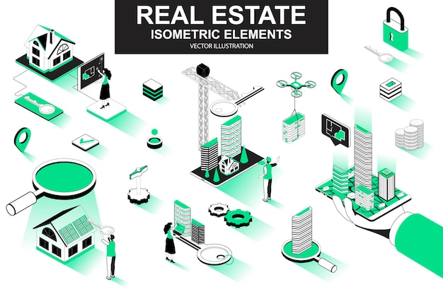 Real estate 3d isometric line elements