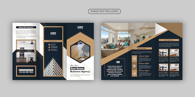 Real estate a4 business trifold brochure template