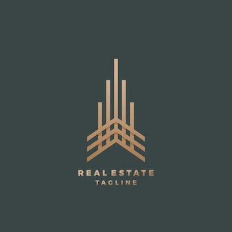 Real estate abstract geometry  sign, symbol or logo template. premium line style building concept. minimalistic emblem.on dark background
