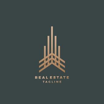 부동산 추상 형상 기호, 상징 또는 로고 템플릿. 프리미엄 선 스타일 빌딩 개념입니다. 어두운 배경에서 최소한의 상징