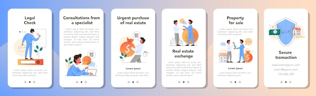 Real estate advantage application banner set. idea of house for sale and rent. secure transaction, mortgage and rental. consultation with qualified real estate agent.  illustration