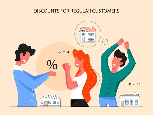 부동산 이점 인포 그래픽. 일반 고객 할인. 판매 및 임대 주택에 대한 아이디어. 자격을 갖춘 부동산 중개인 또는 중개인. 삽화