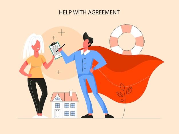 부동산 이점 인포 그래픽. 공인 부동산 중개인 또는 중개인이 계약을 도와줍니다. 판매 및 임대 주택에 대한 아이디어. 삽화