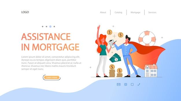 부동산 이점 웹 배너 아이디어. 모기지 계약 지원. 자격을 갖춘 부동산 중개인 또는 중개인. 삽화