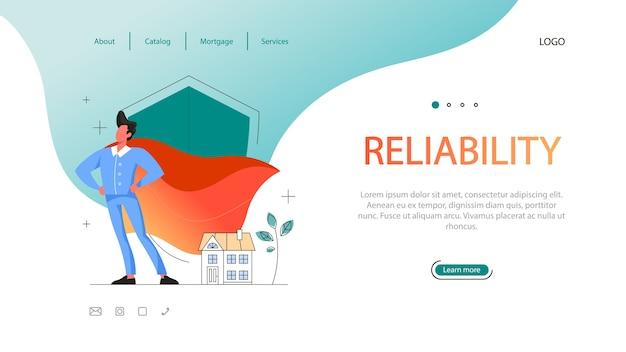 부동산 이점 웹 배너. 자격이 있고 신뢰할 수있는 부동산 중개인 또는 중개인. 모기지 계약에 대한 부동산 지원 및 도움.