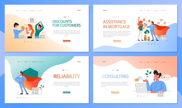 Real estate advantage web banner set. idea of house for sale and rent. safe business contract, mortgage and rental. qualified real estate agent or broker concept.  illustration