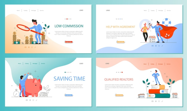 Real estate advantage web banner set. idea of house for sale and rent. safe business contract, mortgage and rental. qualified real estate agent or broker .  illustration