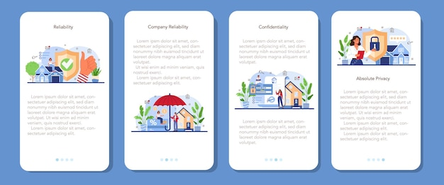 Real estate advantages mobile application banner set reliable real