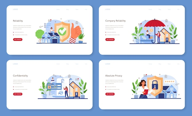 Real estate advantages web banner or landing page set. reliable real estate agent or broker guarantee a property buying confidentiality. realtor helps in mortgage contract. vector flat illustration