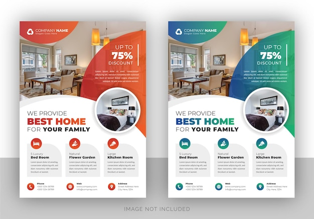 Real estate agency flyer design template Premium Vector