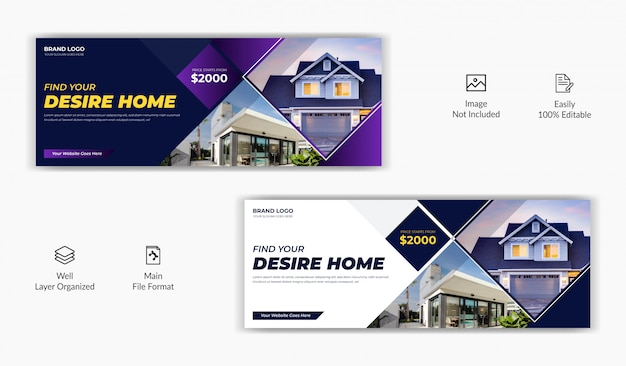 Real estate agency home rent sale social media post facebook cover page timeline website banner template