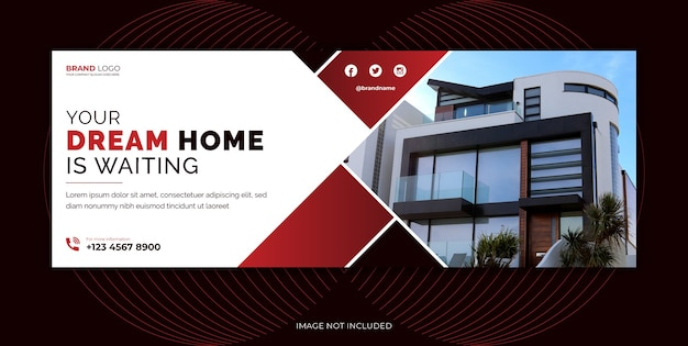 Real estate agency home sale social media cover, social media banner template design.