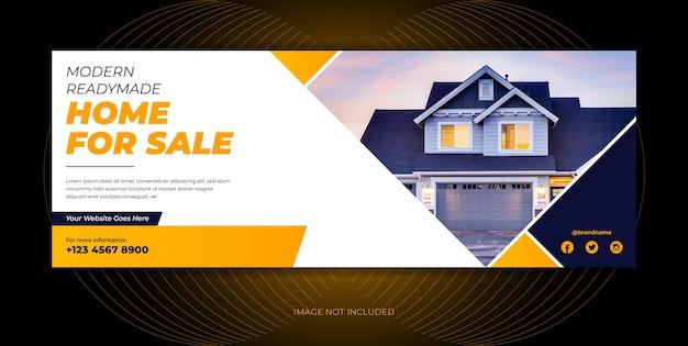 Real estate agency home sale social media cover, social media banner template design.