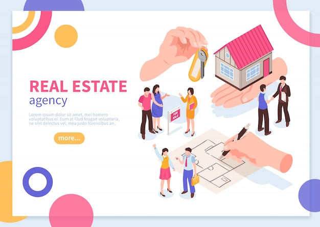 Real estate agency isometric concept of web banner template with colorful geometric elements  vector illustration