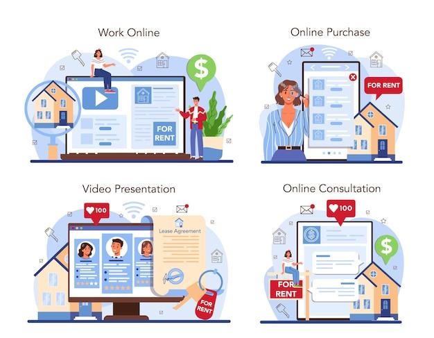 Real estate agency online service or platform set. realtor or broker